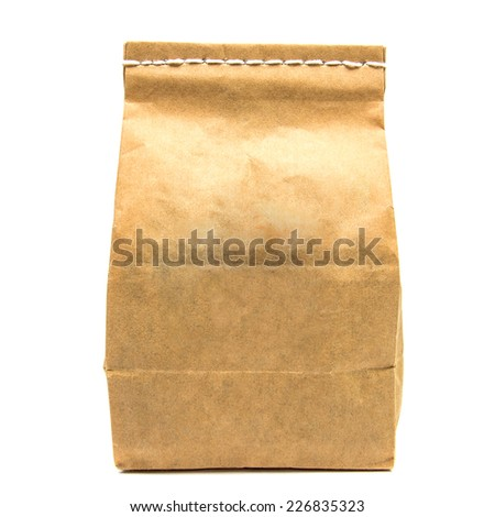 Paper bags for coffee isolated on white background - stock photo