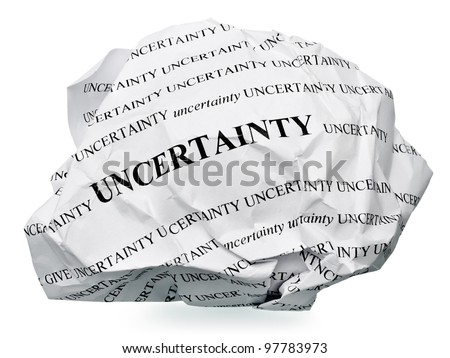 "paper ball with text "" uncertainty "" and clipping path on a white background - stock photo"