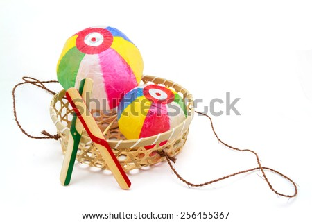 Paper Balloons and bamboo copters, japanese traditional toys - stock photo