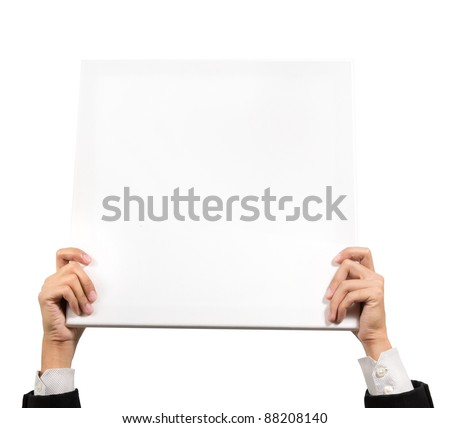 paper banner in business man hands isolated on white background - stock photo