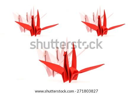 paper bird, origami on white background. - stock photo