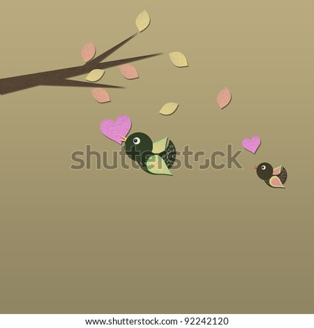 Paper Birds flying with heart and tree - stock photo