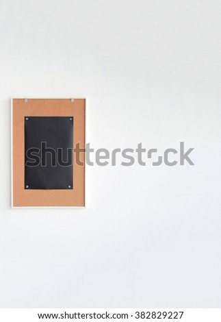 Paper black on wood sign board.left - stock photo