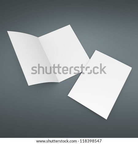 paper blank leaflet mock up in A4 size - stock photo