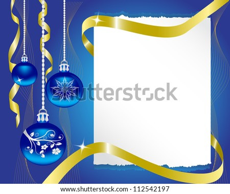paper blue Christmas ornaments and gold ribbon shiny - stock photo