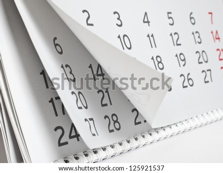 paper calendar close up, calendar - stock photo