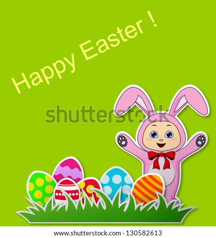 Paper card with Easter eggs and baby with rabbit costume - stock photo
