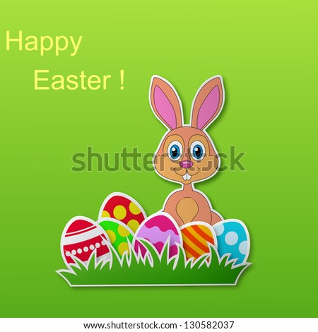 Paper card with rabbit and Easter egg - stock photo