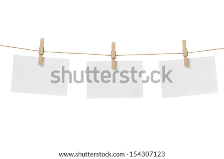 paper cards hanging on the rope, isolated - stock photo