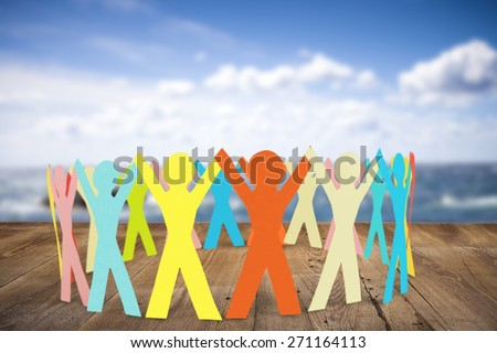 Paper Chain, Cooperation, People. - stock photo