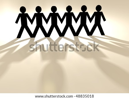 paper chain men with light shining through their bodies - stock photo