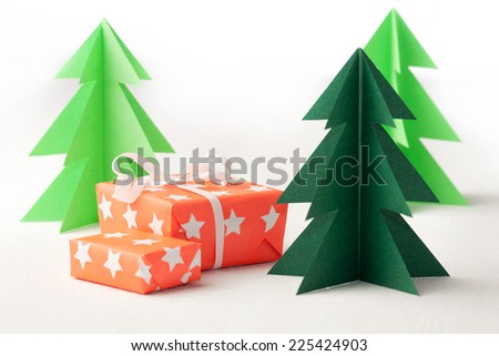Paper Christmas trees. Winter background. Christmas card - stock photo