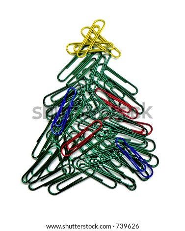 Paper clip Christmas tree - stock photo