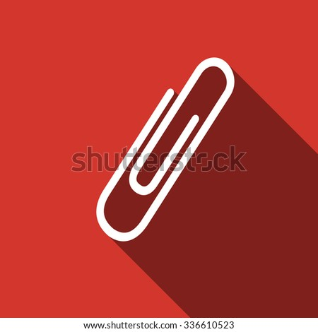 Paper Clip icon with long shadow.  - stock photo