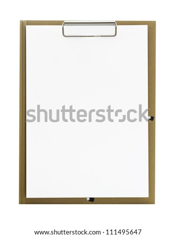 PAPER CLIPBOARD isolated on white background - stock photo