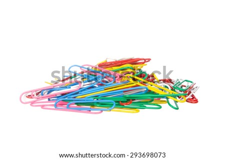 Paper clips isolated on white background - stock photo