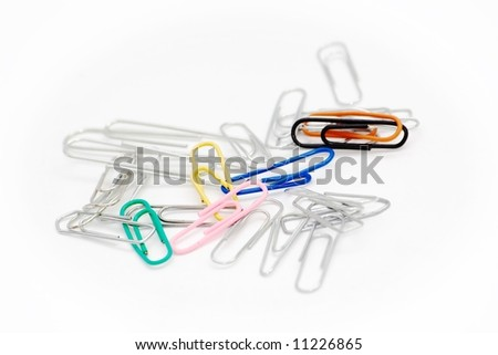 paper-clips on white - stock photo