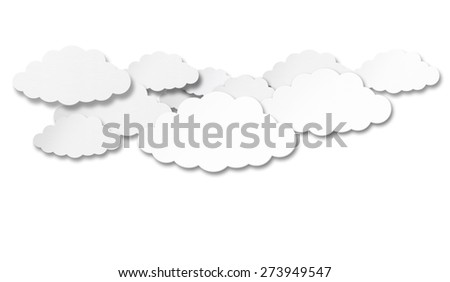 Paper Clouds isolated on white background - stock photo