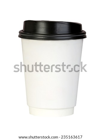 Paper coffee container with black lid on white background - stock photo