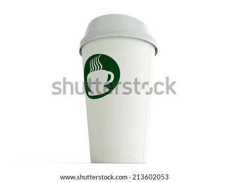 Paper coffee cup on a white background with generic coffee logo from a low angle - stock photo