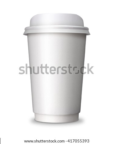 Paper Coffee cup with blank copy space. Take away, take out or take home Paper cup, ideal for hot drink, coffee, tea, chocolate isolated on white background with clip path. - stock photo