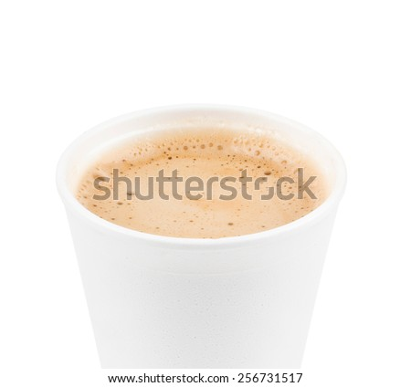 paper coffee cup with coffe - stock photo