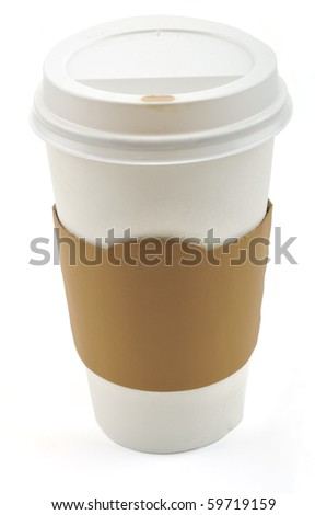 Paper coffee cup with safety cardboard collar on a white background - stock photo