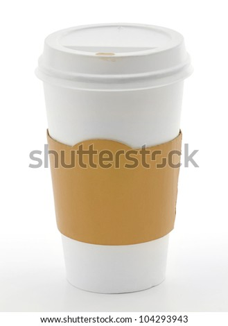 Paper coffee cup with safety cardboard collar on white background - stock photo