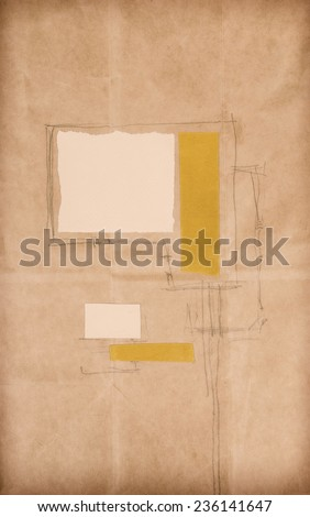 Paper Collage Artwork. Cut and pasted colored paper and pencil drawing on paper. Vintage architectural abstract painting. Made myself.  - stock photo