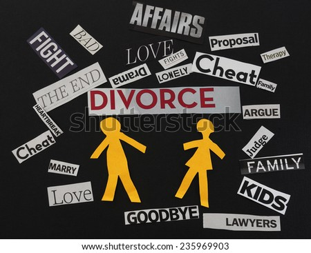Paper couple with divorce themed paper messages                                - stock photo