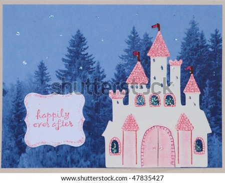 Paper craft greeting card face - stock photo