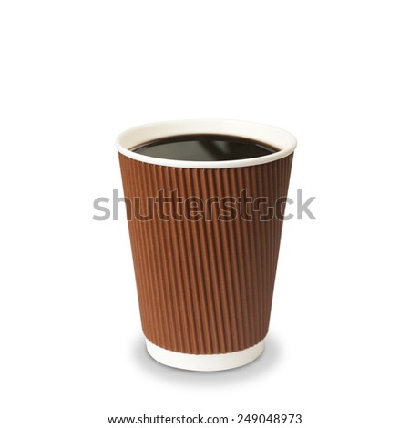 Paper cup of coffee Isolated - stock photo