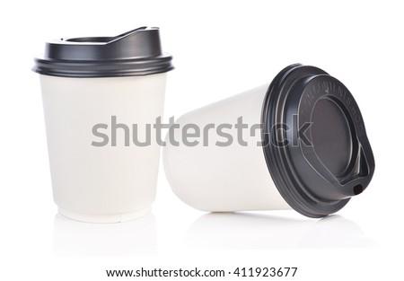 Paper cup of hot coffee on white background - stock photo