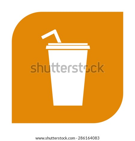 Paper cup with drinking straw icon. - stock photo