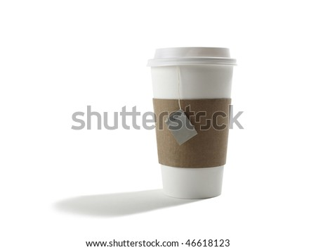 Paper Cup with Tea Bag - stock photo