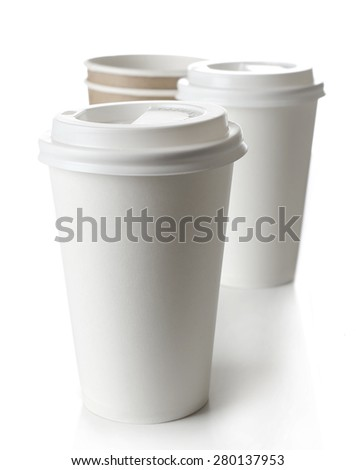 Paper cups isolated on white - stock photo