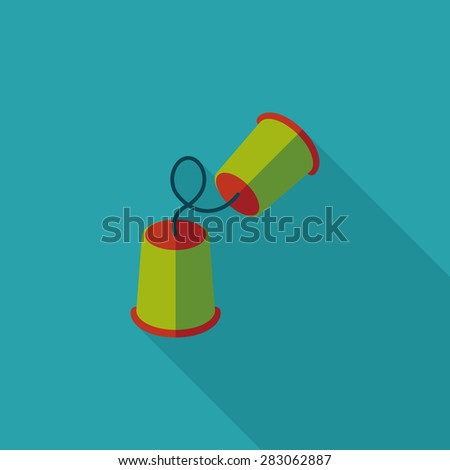 paper cups phone flat icon with long shadow - stock photo