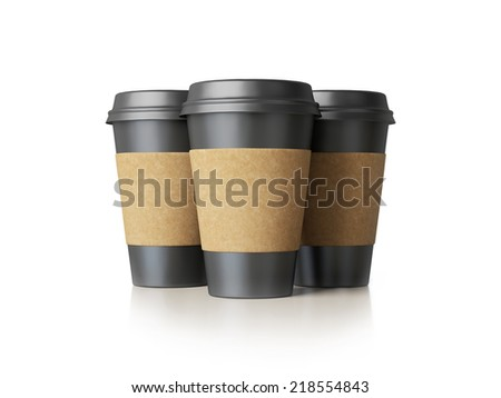 Paper cups with caps - stock photo