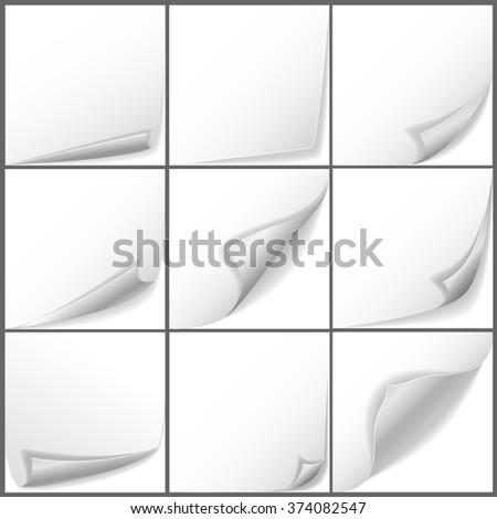 Paper curled corners - stock photo