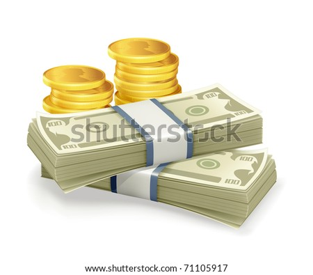 Paper Currency and coins, bitmap copy - stock photo