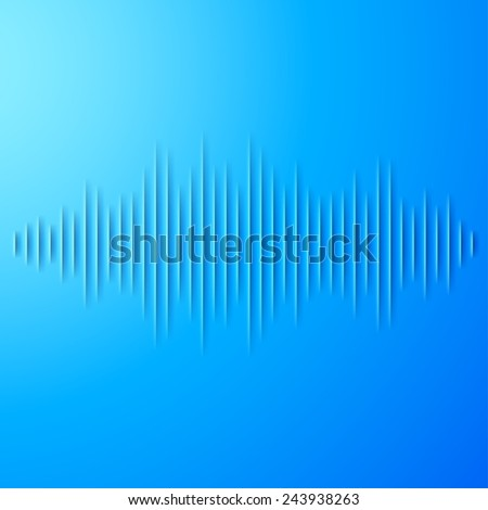 Paper cut blue sound waveform sign with shadow - stock photo