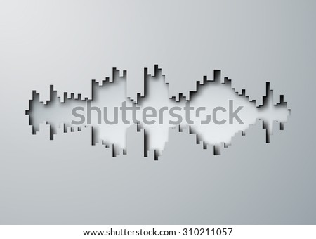 Paper cut hole silhouette of sound waveform sign with shadow - stock photo