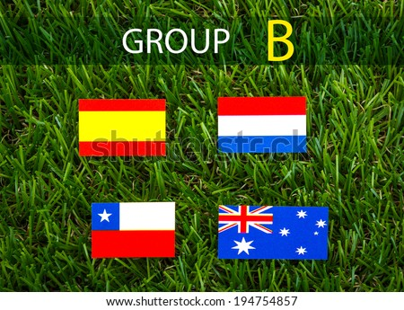 Paper cut of flags on grass for Soccer championship 2014 , group B - stock photo