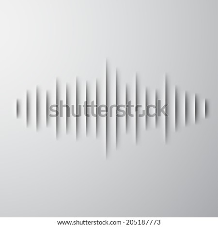 Paper cut sound waveform sign with shadow - stock photo