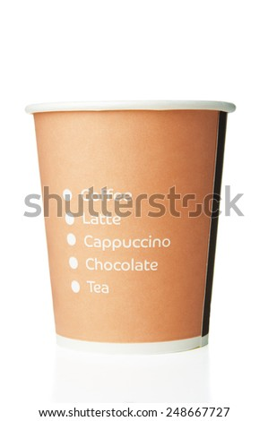 Paper disposable cup with inscriptions - stock photo
