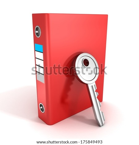 paper documents red ring binder folder with security key - stock photo