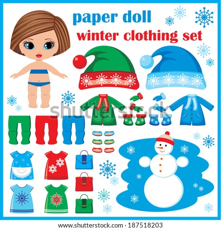 Paper doll with winter clothes set. Raster illustration.  - stock photo
