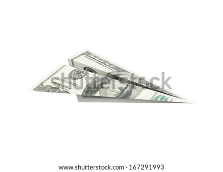 paper dollar plane on a white background - stock photo