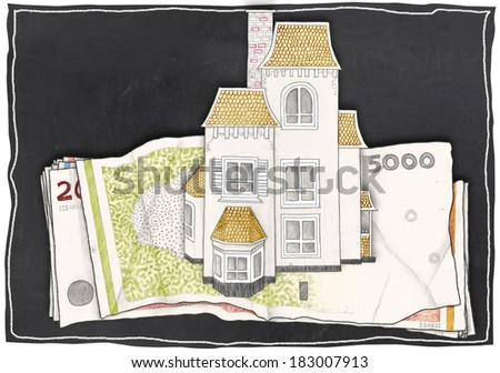 Paper Drawn House and Money on Blackboard - stock photo