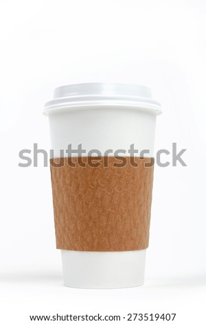 Paper drinking cup with lid and holder - stock photo